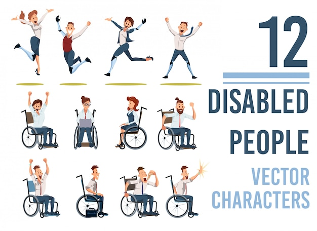 Happy disabled people flat characters set
