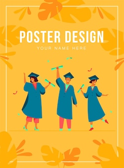 Happy diverse students celebrating graduation from school or colleges, holding diplomas and certificates poster template