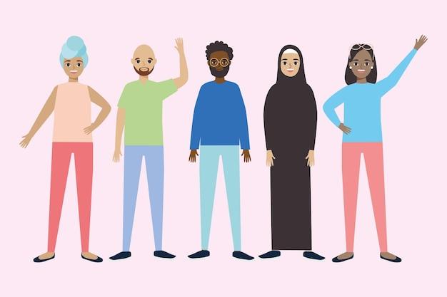 Happy diversity people design