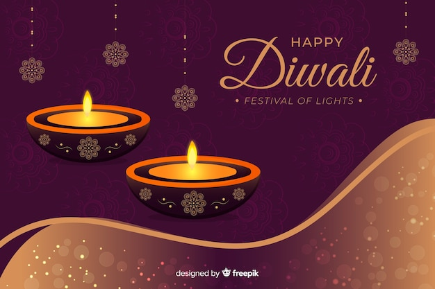 Happy diwali 2019 background with candles