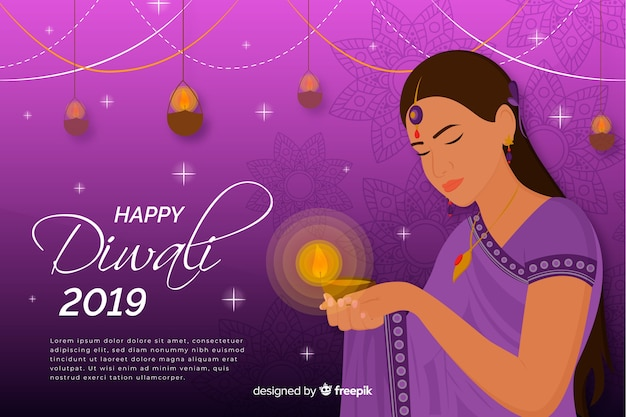 Happy diwali 2019 background with woman