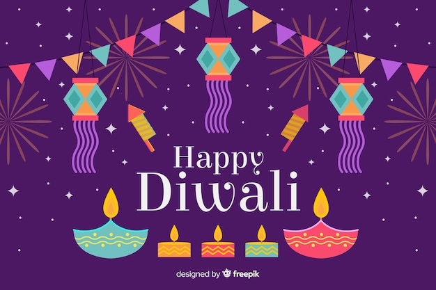 Happy diwali background in flat design