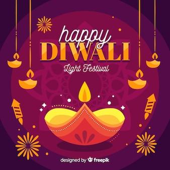Happy diwali background in flat design