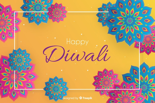 Happy diwali background in paper style