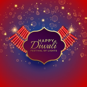 Happy diwali background with burning crackers and sparkles