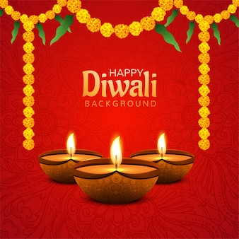 Happy diwali background with decorative flower background
