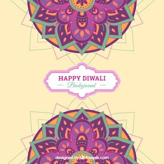 Happy diwali background with mandalas