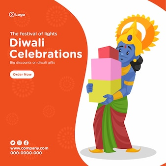 Happy diwali banner design with cartoon illustration of lord rama holding arrow and bow