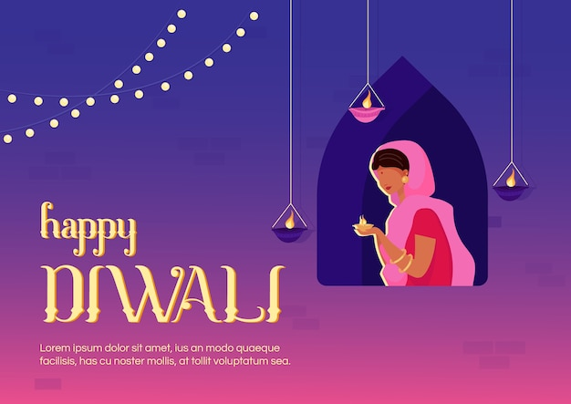Happy diwali banner flat template. traditional indian holiday. celebratory ceremony. brochure, booklet one page concept design with cartoon characters. religious event flyer, leaflet