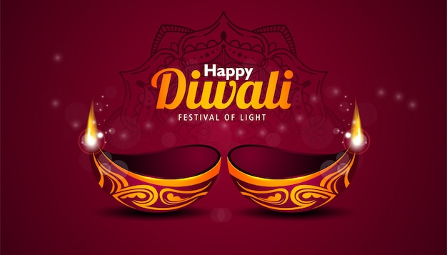 Happy diwali banner template