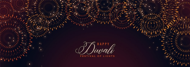 Happy diwali banner with bursting firework crackers