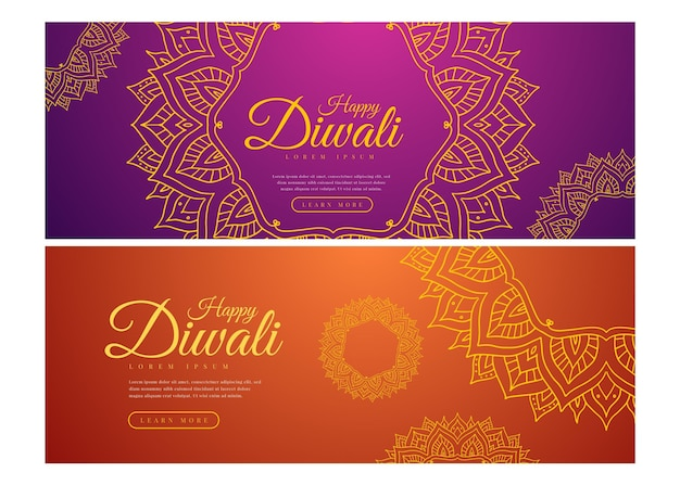 Happy diwali banners template