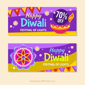 Happy diwali banners with oil lamp and mandala