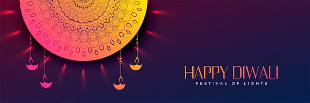 Happy diwali beautiful decorative banner design