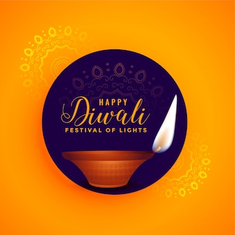 Happy diwali beautiful diya lamp festival background