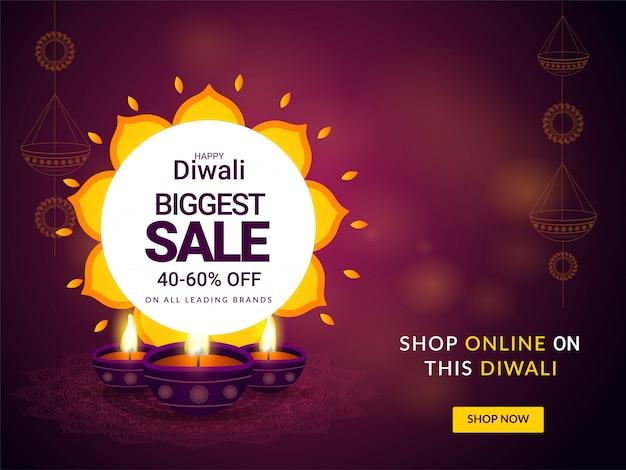 Happy diwali biggest sale poster or banner design.