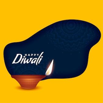 Happy diwali burning diya on yellow background