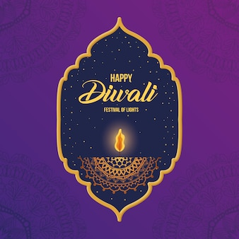 Happy diwali candle in frame on purple with mandalas background design, festival of lights theme.