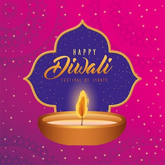 Happy diwali candle with frame on pink with mandalas background design, festival of lights theme
