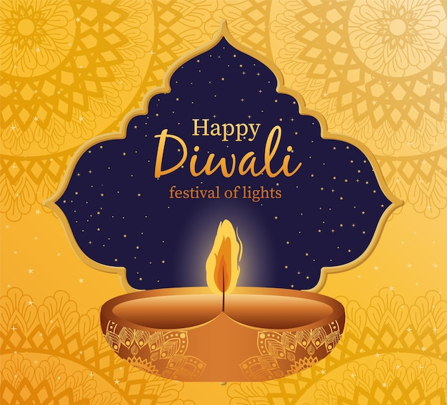 Happy diwali candle with frame on yellow with mandalas background design, festival of lights theme