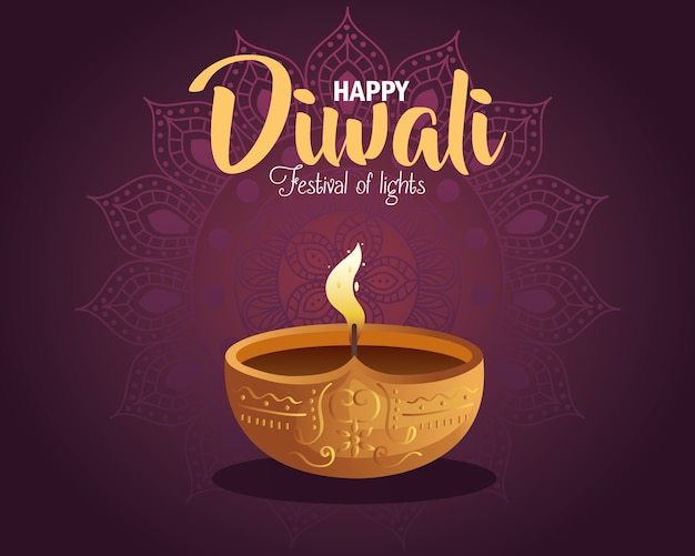 Happy diwali card with candle and mandala on purple