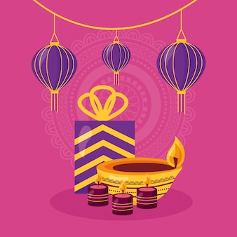 Happy diwali card with gift and candle celebration icon Free Vector