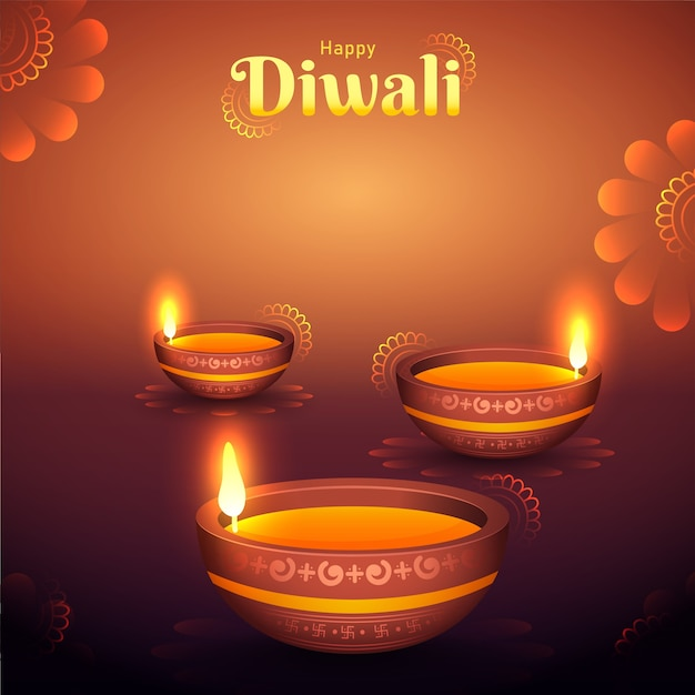 Happy diwali celebration background decorated with illuminated oil lamps