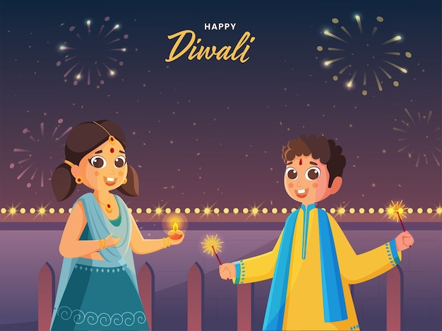 Happy diwali celebration background with cute girl