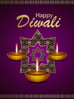 Happy diwali celebration background with diali diya on pattern background