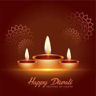 Fondo felice di celebrazione di diwali con la decorazione di diya