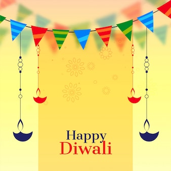 Happy diwali celebration background with hanging diya