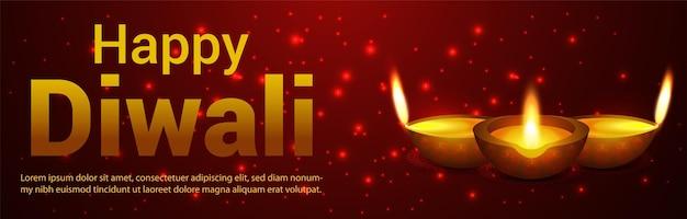 Happy diwali celebration banner with vector diwali diya