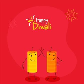赤い背景でハイタッチをしている漫画の爆竹と幸せなディワリ祭のお祝いのコンセプト。