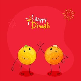 赤い背景のハイタッチポーズで漫画の甘いボール(ラドゥー)と幸せなディワリ祭のお祝いのコンセプト。