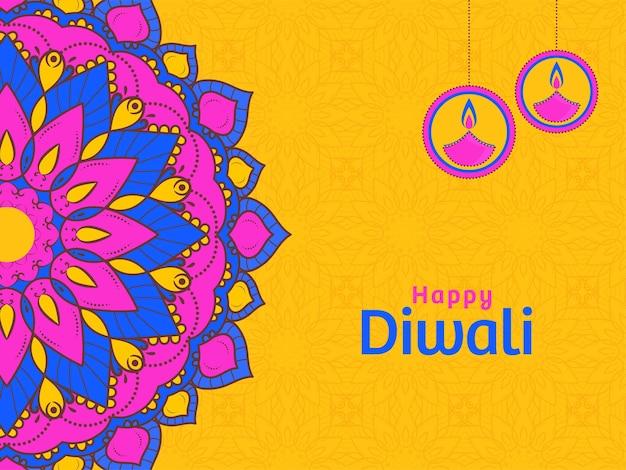 黄色の背景にオイルランプ(ディヤ)ハングとランゴーリーまたは曼荼羅パターンで幸せなディワリ祭のお祝いのコンセプト。