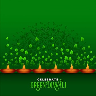 Happy diwali celebration eco green background