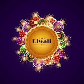 Happy diwali celebration festival greeting with burning crackers