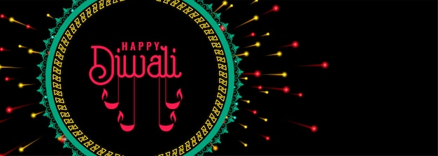 Happy diwali celebration firework banner