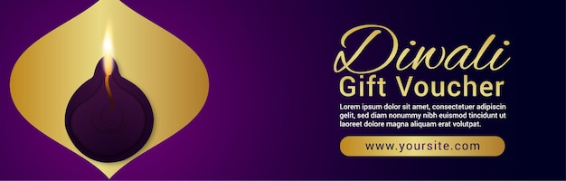 Happy diwali celebration gift voucher banner with diwali diya on purple background
