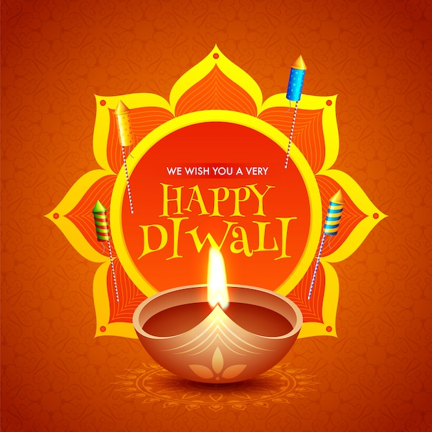 Happy diwali celebration greeting card design with illuminated oil lamp (diya) and rocket fireworks