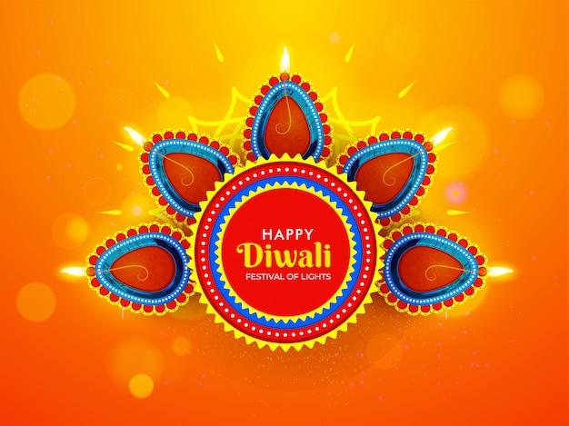 Happy diwali celebration greeting card design with illuminated oil lamps (diya)