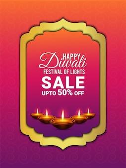 Happy diwali celebration greeting card the festival of light