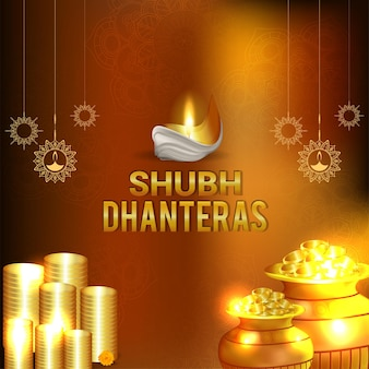 Happy diwali celebration greeting card with coin pot