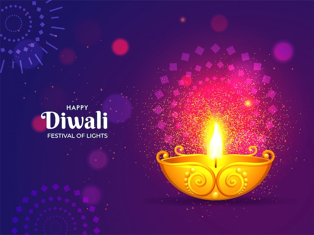 Happy diwali celebration greeting card