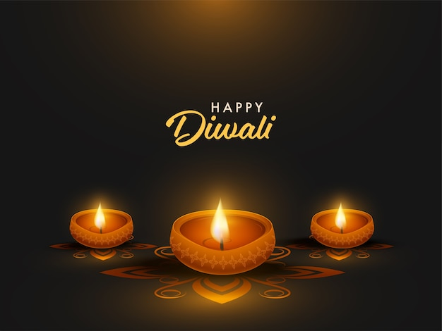 Happy diwali celebration poster design with illuminated oil lamps