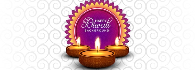 Happy diwali celebration social media header or banner