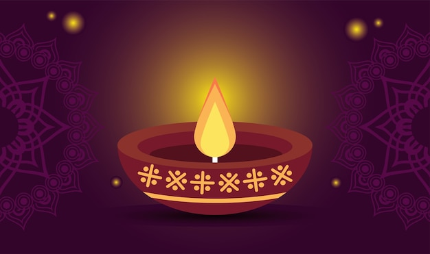 보라색 배경에서 나무 촛불 해피 디 왈리 축제