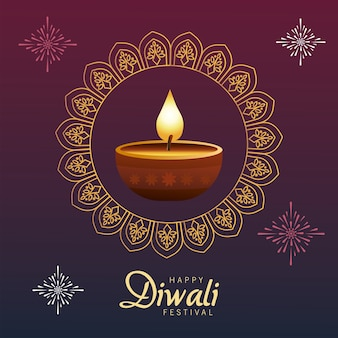 Happy diwali celebration with candle wooden in mandala