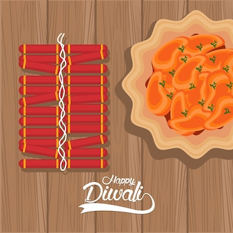 Счастливый праздник дивали с блюдом и фейерверком на деревянном фоне векторной иллюстрации