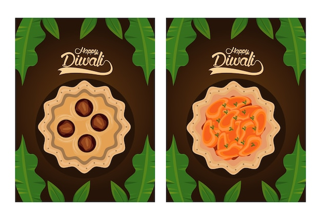 Happy diwali celebration with dishes food and letterings in brown background vector illustration